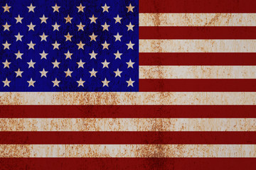the American flag on the texture of rusty metal