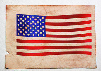 American flag on old sheet of paper