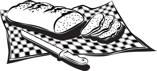 Loaf of fresh bread on a gingham tablecloth.