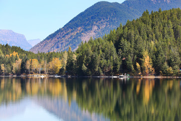 Wall Mural - Beautiful Fall Colors in Mountain Lake Reflection
