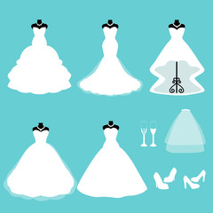 A set of wedding dresses.