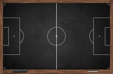 Horizontal soccer field layout drawing on black chalkboard with chalk and wiper