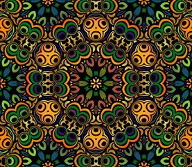 Foto op Canvas Marokkaanse Tegels abstract background colorful symmetrical pattern of the elements of geometric shapes, wavy lines and spirals