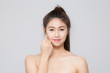 Asian beautiful women touching on her cheek