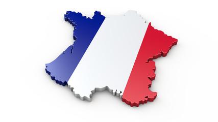 3D Karte von Frankreich - Umriss oder Kontur