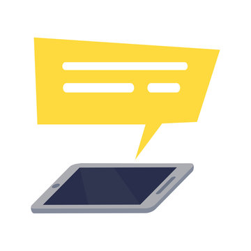 Mobile Phone with Yellow Rectangle Speech Icon