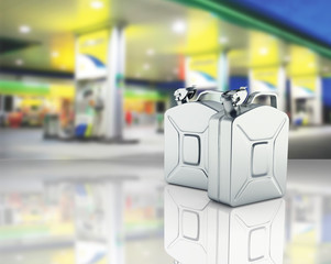 Gas canisters on gas station background with reflection 3d