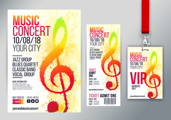 Templates with artistic background illustration with musical note