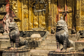 North entrance with lion statues, Changu Narayan, Hindu temple, Kathmandu Valley, Nepal