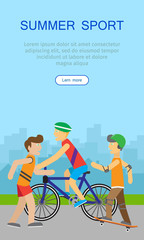 Children Going in for Sport Web Banner Poster.