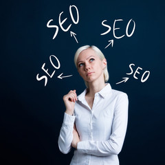 Business button seo web in network