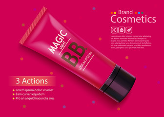 Luxury skin toner, bb cream or peeling scrub contained in tube, pink background. Cosmetic and organic makeup concept.