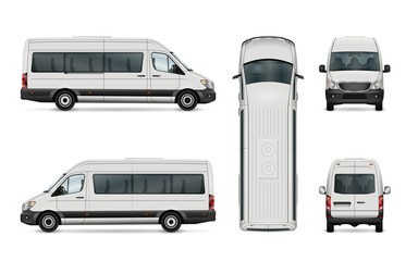 White van vector template. Isolated passenger mini bus. All layers and groups well organized for easy editing. View from side, back, front and top.