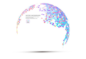 Colorful abstract mosaic sphere, science and technology abstract vector background