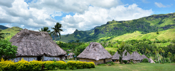 Panoramic view of Navala village Fiji