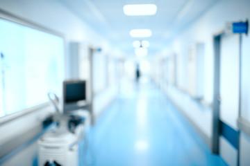 Blurred hospital hallway, unfocused background