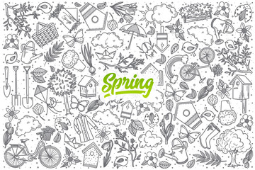 Hand drawn Spring doodle set background with green lettering in vector