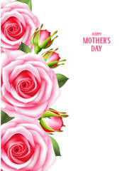 Mother's day card with pink roses. Happy mother's day. Vector illustration