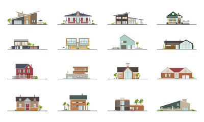 Set of different styles residential houses. Colorful flat vector illustration. Collection building villa, cottage, mansion.