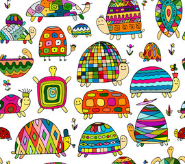 Funny turtles collection, seamless pattern for your design