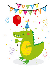 birthday card. Crocodile with party cap, balloon and confetti