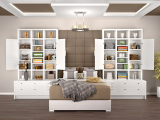 Bedroom design with open and white cabinets. 3d illustration