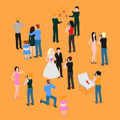 Flat isometric set of photographers. Wedding, family and kids photography. Paparazzi, journalist. Fashion, reportage and advertising photographer.