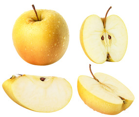 Gold (yellow) wet apple fruit collection, with clipping path