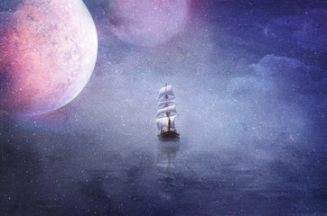 ship in the vastness of the universe background illustration
