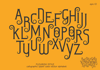 Vector alphabet set. Capital letters with decorative flourishes in the Art Nouveau style. Black letters on a yellow background.