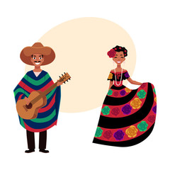 Mexican man and woman in traditional national clothes for celebrations and carnivals, cartoon vector illustration with place for text. Mexican people, man and woman, in national costumes