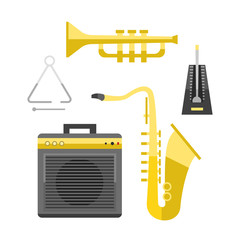 Saxophone icon music classical sound instrument vector illustration and brass entertainment golden band design equipment blues musician concert sax.