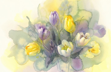 pastel tulips watercolor background