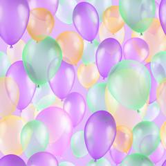 Balloons seamless pattern background, beautiful colorful illustration