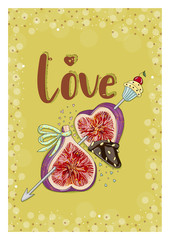 "Figs in love with cupcake. Hand drawn postcard 105x148 from ""Fruit Love & Sweet"" collection. White background."