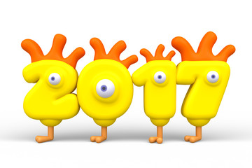 Stylized yellow cartoon funny number 2017. Symbol new year with roosters elements. 3d render.