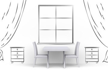 White table with two chairs in room with hand drawn painted on wall big window, curtains and stand. Creative illustration. Front view. 3D render.