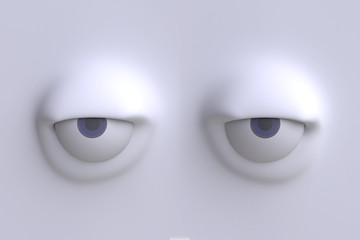 Two funny cartoon eyes. Element of emotion characters face. 3d render.