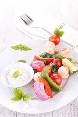 grilled vegetable and dip