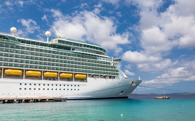 Cruise Ship Docked in Aqua Water