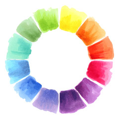 Color wheel. Watercolor spectrum