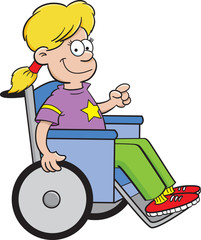 Cartoon illustration of a girl sitting in a wheelchair.