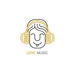 Smiling man with headphones - logo design template in linear style. Love music concept.
