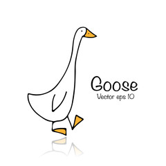 Funny goose, sketch for your design