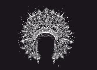 Ein prachtvoller Kopfschmuck eines Häuptlings. Weißes Motiv aus feinen Linien auf schwarzem Hintergrund