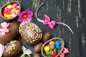 Chocolate eggs covered with colorful sprinkles