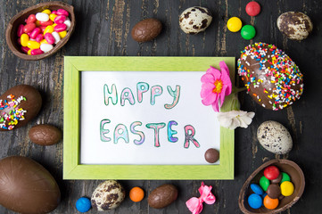 Happy Easter card and chocolate eggs