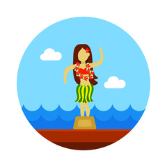 Hula Dancer Statuette icon. Summer. Vacation