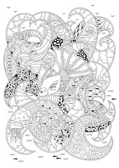 Hand drawn backdrop. Coloring book, page for adult and older children. Vector illustration.