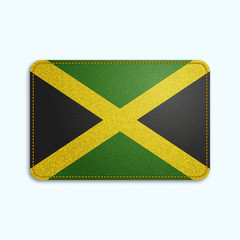 National flag of Jamaica with denim texture and orange seam. Realistic image of a tissue made in vector illustration.